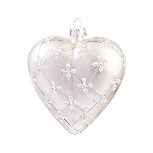 Raz Alabaster Creamy Sparkle White Heart 4 inch Glass Decorative Christmas Ornament