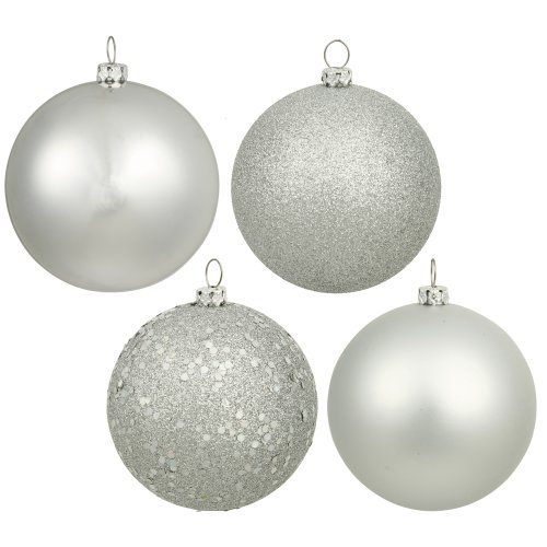 Vickerman 4-Finish Assorted Plastic Ornament Set & Seamless Shatterproof Christmas Ball Ornaments with Drilled Cap, Assorted 4 per Bag, 6″, Silver
