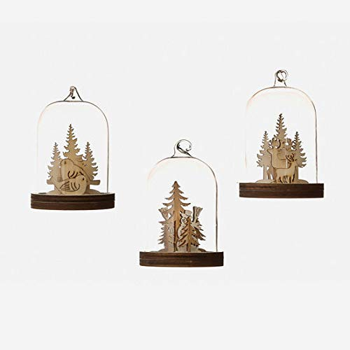 One Hundred 80 Degrees Deer Snowman Bird Glass Dome Ornament with Woodland Scene