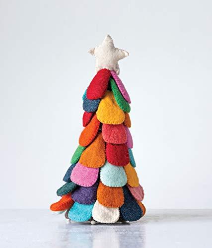Creative Co-op Multicolor Wool Felt Christmas Tree Figurine