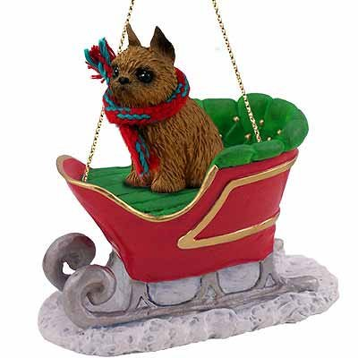 Conversation Concepts Brussels Griffon Sleigh Ride Christmas Ornament Red – Delightful!