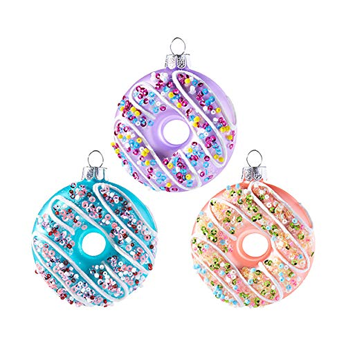 Raz Sprinkle Purple Blue Peach Donut 2.5 inch Glass Decorative Christmas Ornament, Set of 3