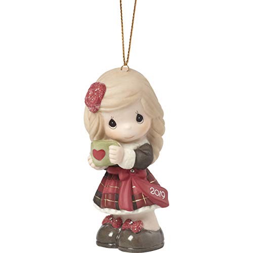 Precious Moments Heart Warming Christmas 2019 Dated Bisque Porcelain 191002 Ornament, One Size, Multi (Renewed)