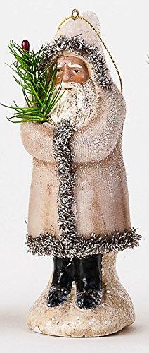 One Hundred 80 Degrees Velvet Belsnickle Christmas Ornament – 5.5 inches (White)