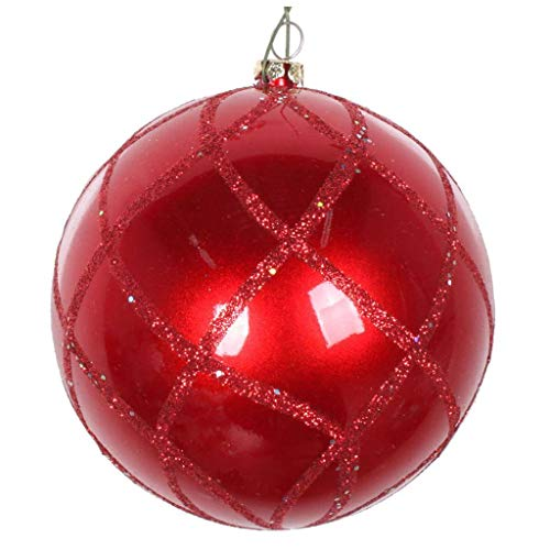 Vickerman 613832-6″ Red Candy Glitter Net Ball Christmas Tree Ornament (2 pack) (MT198203D)