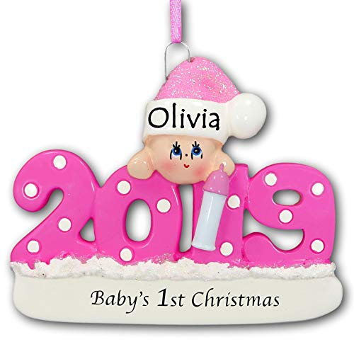 2019 Baby's First Christmas Ornament – Pink Baby Girl with Polka Dots and Glittered Santa Claus Stocking Hat for Baby Girl – Your Choice of Name