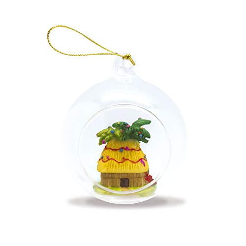 Island Heritage Hawaiian Christmas Shack Hand-Painted Glass Globe Hawaii Christmas Ornament
