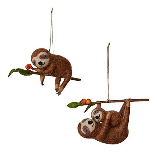 One Hundred 80 Degrees Sloths Mama with Baby Christmas Holiday Ornament Set of 2 Felt 6.5 Inches