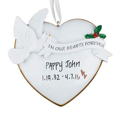 in Our Hearts Forever – Memorial – (Unique Christmas Tree Ornament – Classic Decor for A Holiday Party – Custom Decorations for Family Kids Baby Military Sports Or Pets)