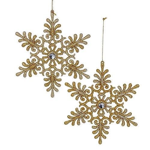 Kurt Adler 6-Inch Gold and Platinum Set of 2 Snowflake Ornament Set, 2 Piece