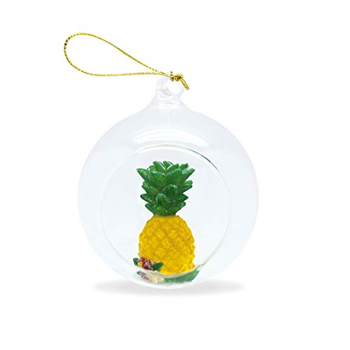 Island Heritage Hawaiian Pineapple Hand-Painted Glass Globe Hawaii Christmas Ornament