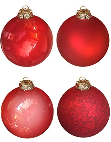 Mark Roberts Extra Large Red Glass Ball Ornaments Set of 4 with Assorted Finishes. 6 inch Diameter
