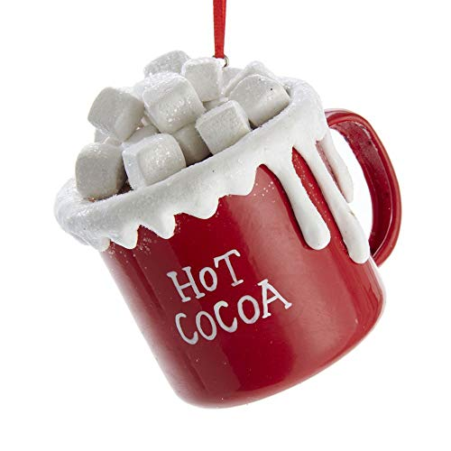Kurt Adler 3-inch Claydough and Metal Hot Cocoa Cup with Marshmallows Ornament
