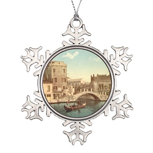 Follies Christmas Bridge and Canal, Venice, Italy Snowflake Pewter Christmas Ornament