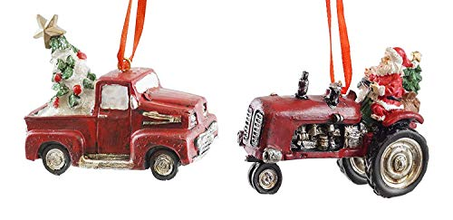 Creative Co-op Country Christmas Tractor & Truck Hanging Ornaments – Set of 2
