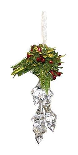G Ganz Kissing Krystals Mistletoe Crystal Hanging Home Decor Ornament (Large (5 Crystals))