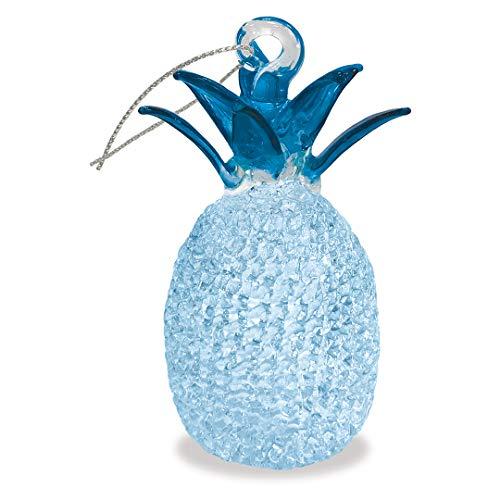 Island Heritage Hawaiian Pineapple Blue Hawaii Christmas Glass Lace Ornament