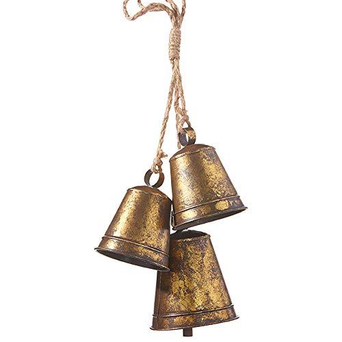 Raz Vintage Goldtone Bell Cluster 15 inch Iron Decorative Christmas Ornament