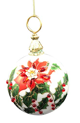 One Hundred 80 Degrees Blown Glass Holiday Foliage Ball Hanging Ornament 6 Inches Tall 3.75 Inch Diameter Poinsettia