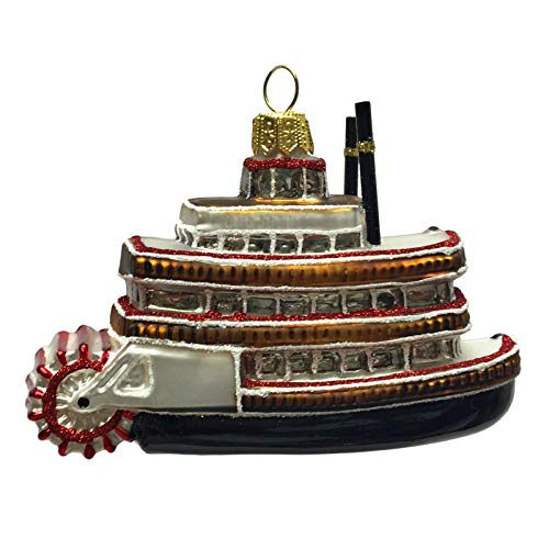 Pinnacle Peak Trading Company Steamboat Polish Glass Christmas Tree Ornament Travel Boat Decoration