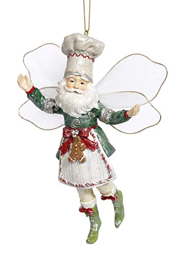 Mark Roberts Resin Limited Edition Fairy Hanging Ornament with Fabric Wings 6 Inches (Gingerbread Fairy 63-93264)