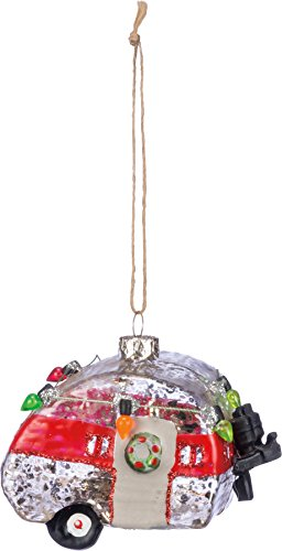 "PBK Retro Style Airstream RV Camper Trailer Decorative Hanging ""Christmas Tree Ornament"" with Lights Tire and Glitter for Holiday Home Decor Accents, Camping Lovers, Glass Metal and Plastic, 2.5″ x 2″"