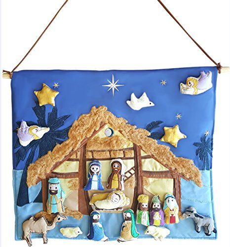Mistletoe Mill Christmas Nativity Set – Interactive Fabric Nativity Scene Wall Hanging with Plush Moveable Figures