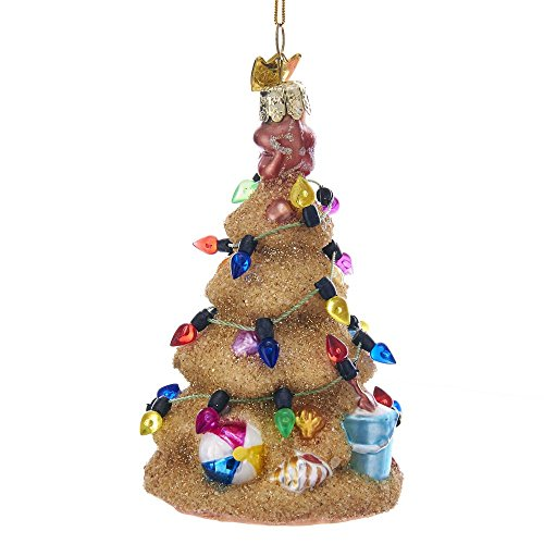 Kurt-Adler Glass Ornament with S-Hook and Gift Box, Festive Collection (Sand Christmas Tree, NB1296)