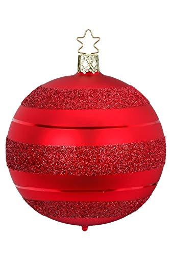Inge-Glas Ball, Block Stripes, Red Matte 20681T010 German Blown Glass Christmas Ornament
