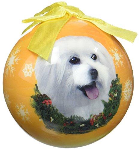 E&S Pets Maltese Puppy Cut Shatterproof Christmas Ornament
