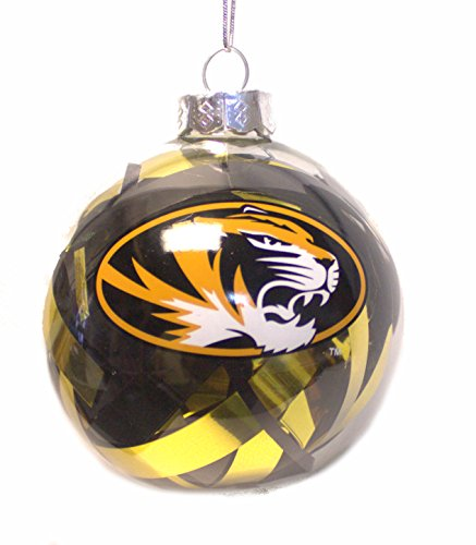NCAA Officially Licensed Missouri Mizzou Tigers Tinsel Filled Ball Ornament
