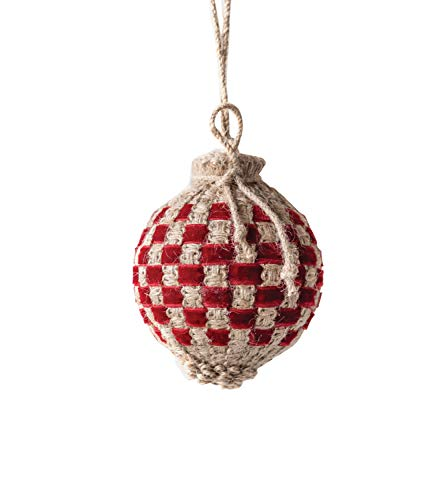 Creative Co-op Woven Jute Ball Ornament, Red