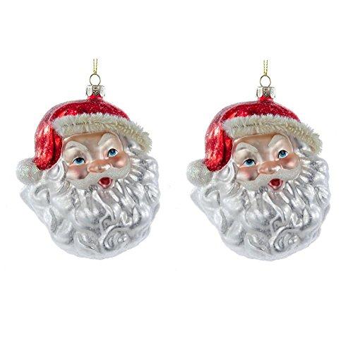 Kurt Adler Noble Gems Glitter Santa Head Christmas Trees Ornaments, Set of 2