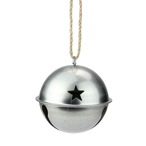 Midwest Gloves 3.25″ Galvanized Metal Jingle Bell Christmas Ornament with Star Cutouts
