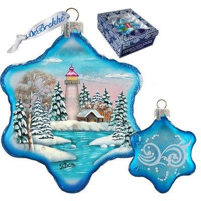 G. Debrekht Lighthouse Snowflake Glass Ornament