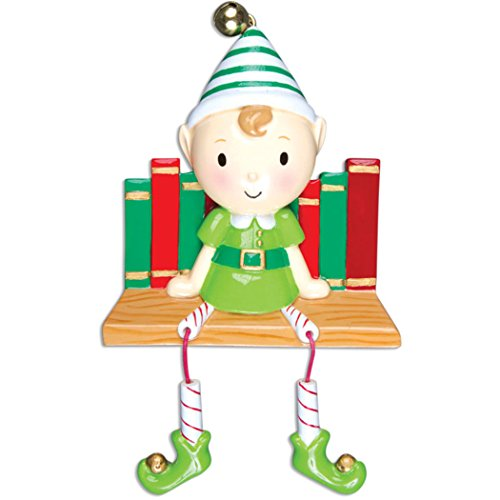Personalized Elf on Books Christmas Tree Ornament 2019 – Cute Traditional Santa Helper The Shelf Dangling Legs Child Grand-Son Kid Character North Pole Pixie Gift Year – Free Customization