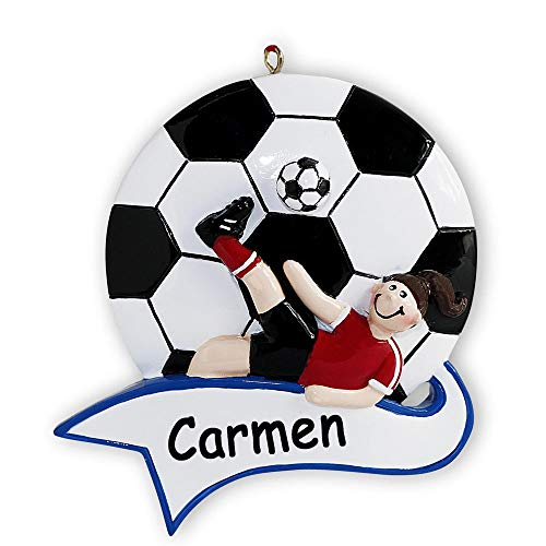 Rudolph and Me Personalized Soccer Player Girl Sports Ball with Banner Christmas Ornament Holiday Tree Decoration with Custom Name