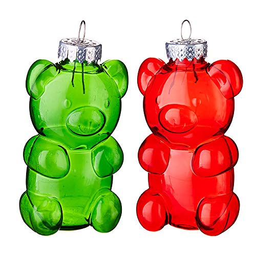 Set of 2 Raz 4″ Green or Red Gummy Bear Christmas Ornament 3932776