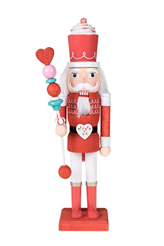 Clever Creations Candy King Nutcracker Red Sparkle and White Uniform | Cupcake Crown and Candy Scepter | Collectible Wooden Christmas Nutcracker | Festive Holiday Decor | 100% Wood | 15″ Tall