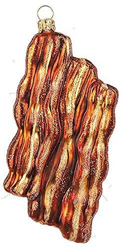 Pinnacle Peak Trading Company Baked Bacon Strips Polish Glass Christmas Tree Ornament Food Breakfast Poland