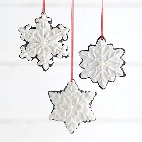 Set of 3 Raz 4.25″ Claydough Gingerbread Snowflake Christmas Ornament 3916233