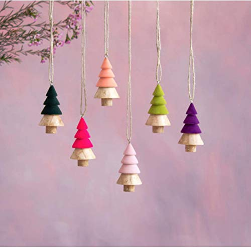 One Hundred 80 Degrees Mini Wooden Tree Ornament Set of 6