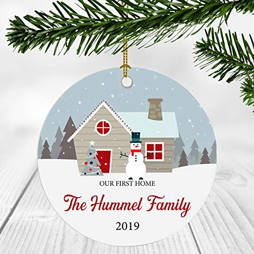 First Christmas in Our New Home 2019 Ornament – Our First Home The Hummel Family – Newlywed Couple Gift Ideas New Home Decoration Ornaments 3 Inches Ceramic