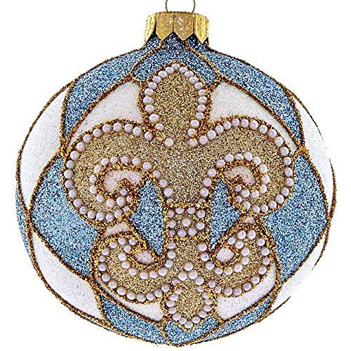 Landmark Creations' Blue & White Glittered Fleur-de-LYS European Glass Christmas Ornament with Pearl Detailing
