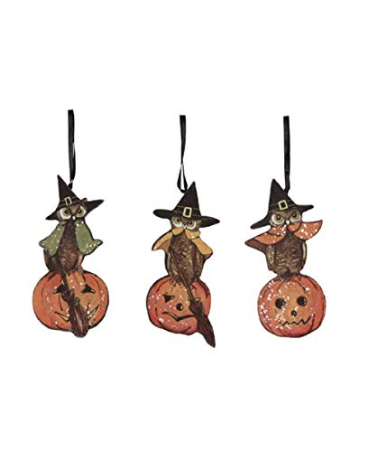 Bethany Lowe Halloween Owl Dummy Board Ornaments – Set of 3 Assorted Vintage Style