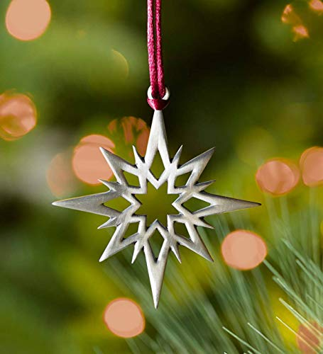 Plow & Hearth Solid Pewter Christmas Tree Ornament – Approx. 2.25 H – Star