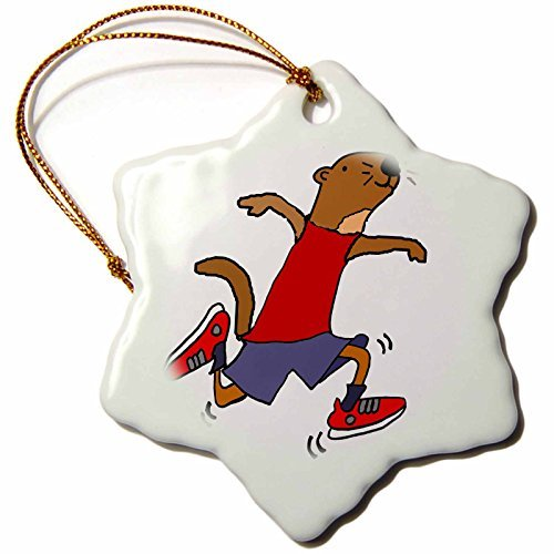 Christmas Ornament All Smiles Art Sports and Hobbies – Funny Cool Sea Otter Running or Jogging Cartoon – Snowflake Porcelain Ornament