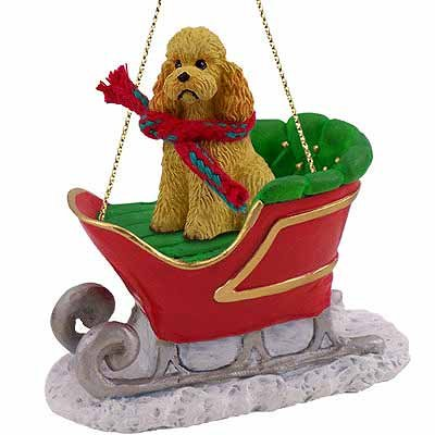 Conversation Concepts Poodle Sleigh Ride Christmas Ornament Apricot Sport Cut – Delightful!