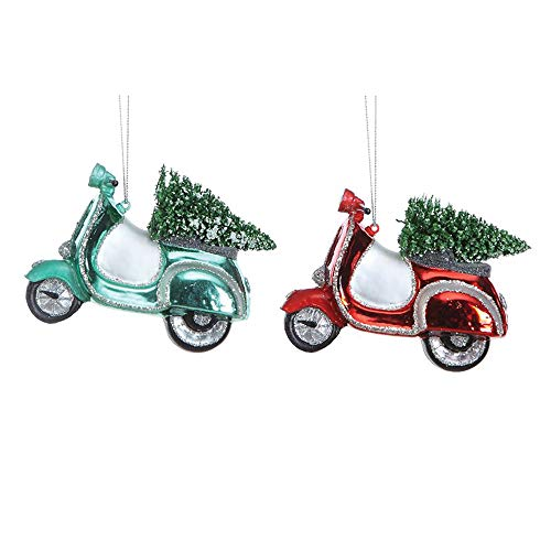 Creative Co-op Moped with Bottle Brush Tree Blue Red 4 inch Glass Christmas Ornaments Set of 2