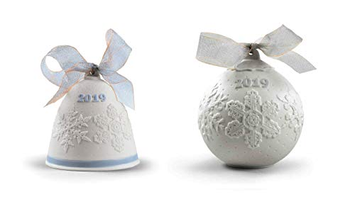 Lladro 2019 Christmas Bell & Ball Set in Blue #18446 & #18443